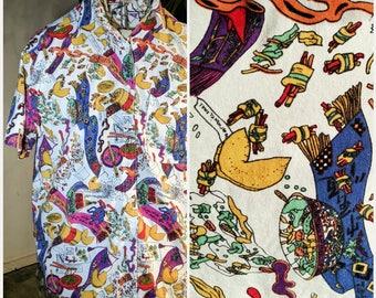 90s Clothing Bill Blass Shirt Crazy Takeout Chinese Food Print Gianna Inc