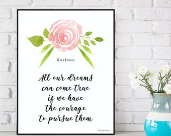 Disney quote, Disney print, Children poster, Bedroom wall decor, Kids decor, Nursery art print, Nursery decor, Word art, Children gift idea