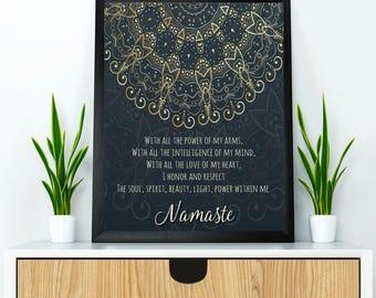 Yoga poster, Yoga wall art, Namaste poster, Namaste quote, Yoga wall decor, Meditation wall art, Inspirational quote poster, Yoga gift
