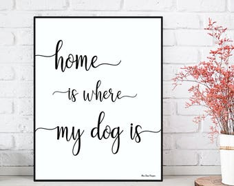 Dog poster, Quote dog poster, Home is where my dog is, Gift for dogs lovers, Quote dog wall art, Dog print, Typography wall decor, Home gift