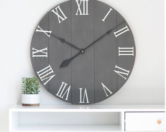25/30 in wall clock. Large wall clock. Rustic wall clock. Wood clock. Oversized wall clock- Gift for her