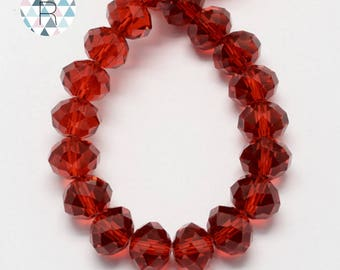 150 red 4x3mm glass faceted beads / oval beads