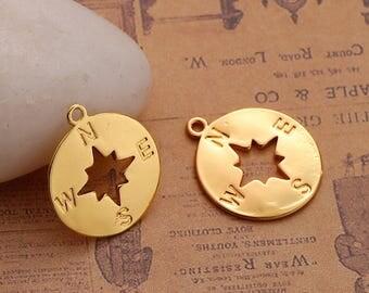 2 pendants Compasse shape copper color gold 23mm