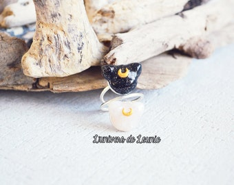 Ring double Luna Sailor Moon Artemis cat / Handmade
