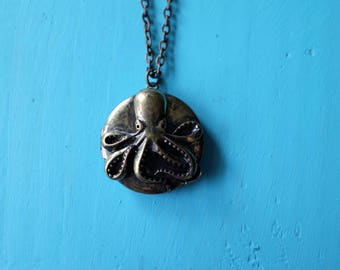 Octopus locket necklace