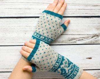 Fair Isle Fingerless Gloves -  Teal&White Fingerless Mittens - Fingerless Wool Gloves - Knit Arm Warmers