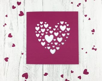 Handcrafted Anniversary Card / Cut Out Heart Card / Card For Wife / Card With Confetti / Girlfriend Card / Heart Confetti / Pink Heart Card