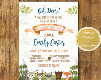 Digital file or Printed-Woodland Baby Shower Invitation-Baby Boy Winter Woodland Animals Invitation-Forest Baby Shower Invites-Free Shipping