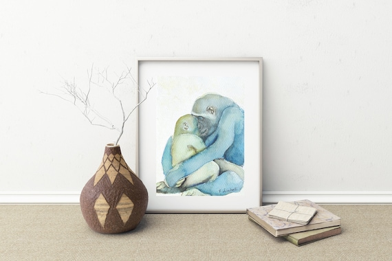 Original Little painting with gorilla mom and her baby, A5, giclee fine art print, baptism gift idea, nursery or babies room wall decoration