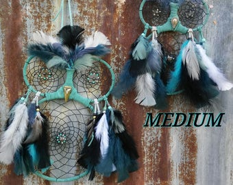 Turquoise | Owl Dream Catcher | Owls | Dreamcatchers | Night Owls | Teal and Gray