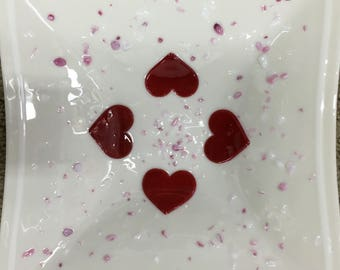 """Love - 12 x 12"""" fused glass bowl"""