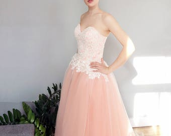 Peach Blush Sweetheart Strapless Lace Ballgown Wedding Dress