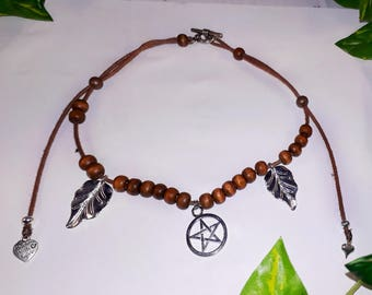 Pentagram necklace with silvery leaves