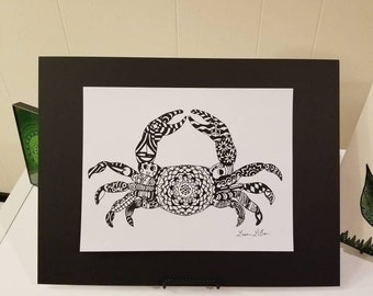 Maryland Crab Art with hidden images print in black and white 8.5 x 11 inches Matted 11 x 14 inches
