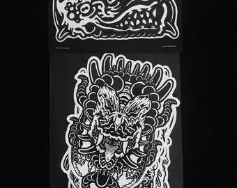 Abyss Abomination artist's sticker packs, pack 2 of 4; 4 pack of stickers horror stickers collectibles limited edition original artwork