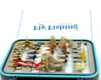 Deluxe Fly Fishing Gift Set - 36 of Our Premium Hand-Tied Trout Fly Fishing Flies in Waterproof Large Fly Box - 18 Trout Fly Patterns