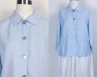 Vintage Orvis linen button down blouse/linen shirt/linen top women's size S/M