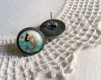 La Sirena- Loteria Mermaid Stud Earrings