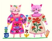 Cat friends with pink dress and red flower dress