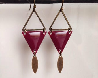 Earrings triangular sequins - trendy - graphic