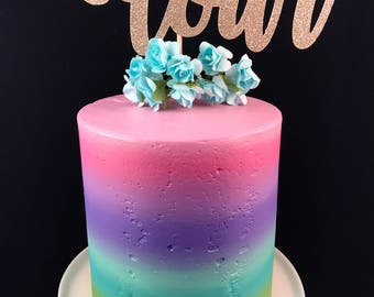 Four cake topper, 4th birthday cake topper, glitter cake topper, fourth birthday cake topper