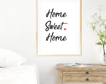 Home Sweet Home - New House Gift - New Home - Typography Design - Minimalist - Black and White - Typography Print - Housewarming