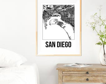San Diego City Map Print - Black and White Minimalist City Map - San Diego Map - San Diego Print - Many Sizes/Colours Available