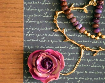 ROSE,  handcrafted Polymerclay Jewelry, Rose tones with golden twigs.