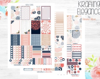 Navy Coral Life Planner Kit, Planner Printable, Planner Stickers, Digital Download, Mambi Planner, Full Box Planner