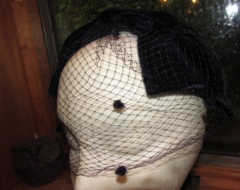 Veiled Velvet Capplet, Hat, Fascinator, Navy Blue, formal, Retro, Diva