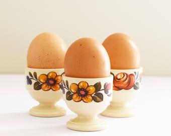 Retro Melamine Egg Cups - Emsa West Germany  - Set of 3 Egg Cups - Floral Pattern -  1970's Era