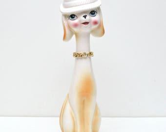 Vintage Ceramic Long Neck Dog in Hat Figurine 1960's Japan