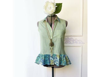 Upcycled high low blouse- sleeveless ooak top, green stripe top, shabby cottage chic, mixed print, size small, eco friendly top, all cotton