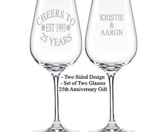 25 Anniversary Gift, Set of 2, 30th Anniversary, Anniversary Wine Glasses, 40th Anniversary Gift, 50th Anniversary, Anniversary Gift Parents