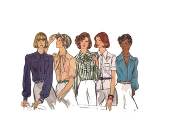 Uncut Vogue 8770, 70s sewing pattern size 14 women's loose fitting blouse button front shirt cuffed sleeves