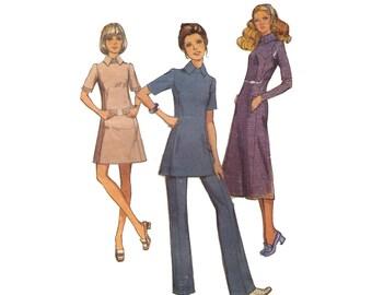 Style 2899, 70s sewing pattern, size 12 bust 34 women's dress, tunic pattern, trousers pattern, short sleeve tunic, flared pants
