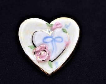"Vintage Ceramic Heart Brooch Rose Ribbon Flower Floral Coat Sweater Lapel Pin 1.5"""