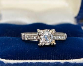 Antique PLATINUM & Natural Old Cut 0.6ct DIAMOND Engagement RING - Petite Sz i