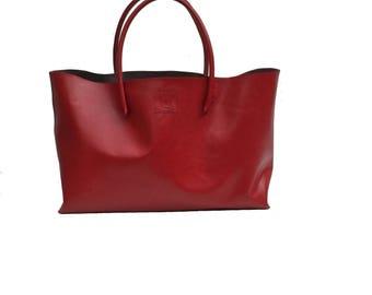 XXL Leather Shopper Big shopper Einkaufsshopper shopping bag leather red handmade