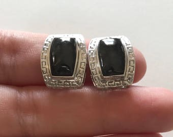 Vintage Mexican/Aztec Black Onyx 925 Sterling Silver Stud Earrings
