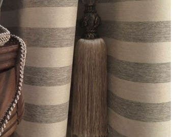 Modern Farmhouse Shower Curtain Beige Grey Stripe Ticking Tan Striped Fabric