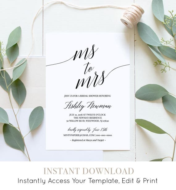 Bridal Shower Invitation Template, Printable Wedding Shower Invite, Ms to Mrs, Instant Download, Fully Editable, DIY, Templett #034-102BS
