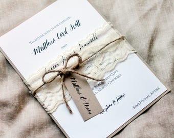 lace wedding invitation set, rustic wedding invitation, wedding invites, invitation suite, country wedding invitation, barn wedding invites