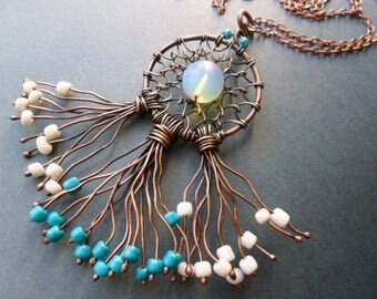 Dreamcatcher necklace, Wire wrapped jewelry, Dreamcatcher jewelry, Tribal necklace, Boho necklace, Native america jewelry, Gift for womans