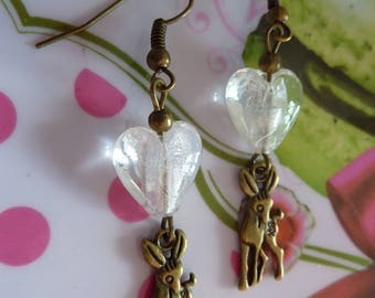 Earrings in antique bronze deer bambi and transparent heart bead