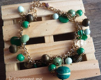 Pearls gold metal chain bracelet and charms in shades of green polymer clay macaron