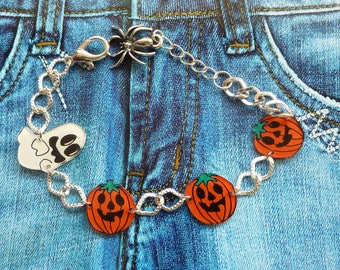 Chain bracelet silver-plated ghost pumpkin halloween crazy crazy plastic handpainted spider charm