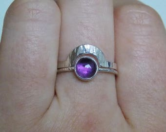 amethyst ring made of silver.
