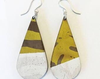 Wooden earrings--teardrop in Pollen Yellow