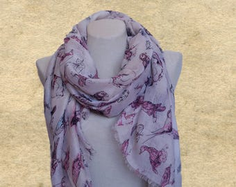 Birds print scarves, Light weight scarf, Womens scarf wrap, Women's shawl scarf, Lightweight scarf, Beige cotton scarf, Scarf for women